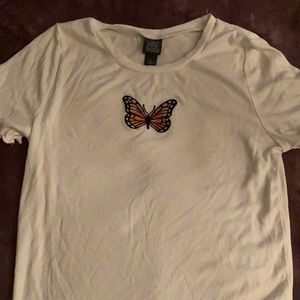 white butterfly shirt